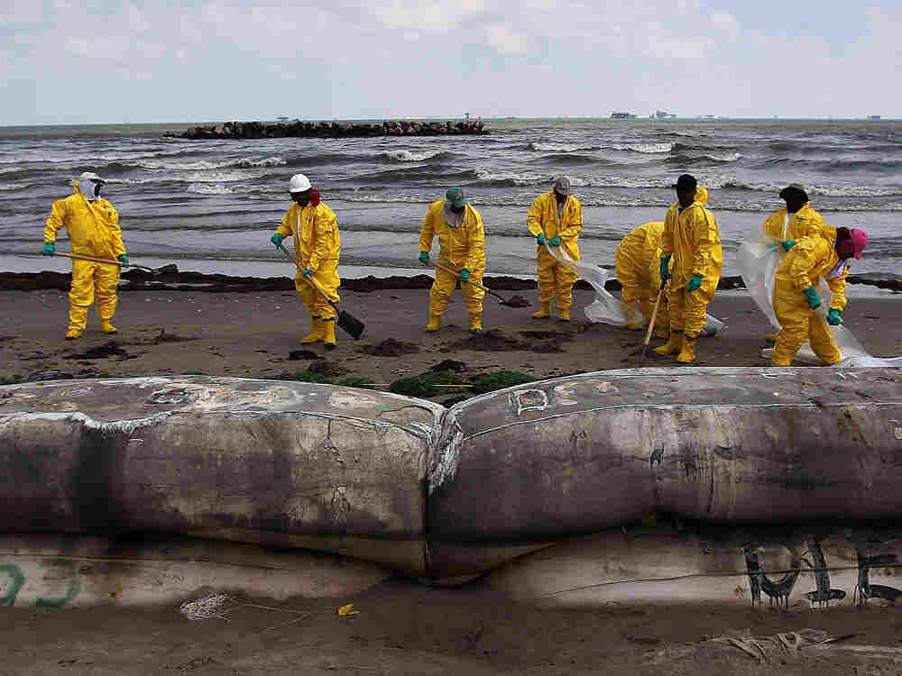 A BP cleanup crew removes oil from a beach on May 23 at Port Fourchon, La.