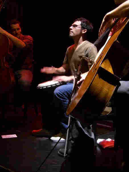 Percussionist Ivan Trevino plays in a cello rock band.