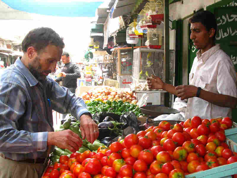 Customer and shop owner in Gaza