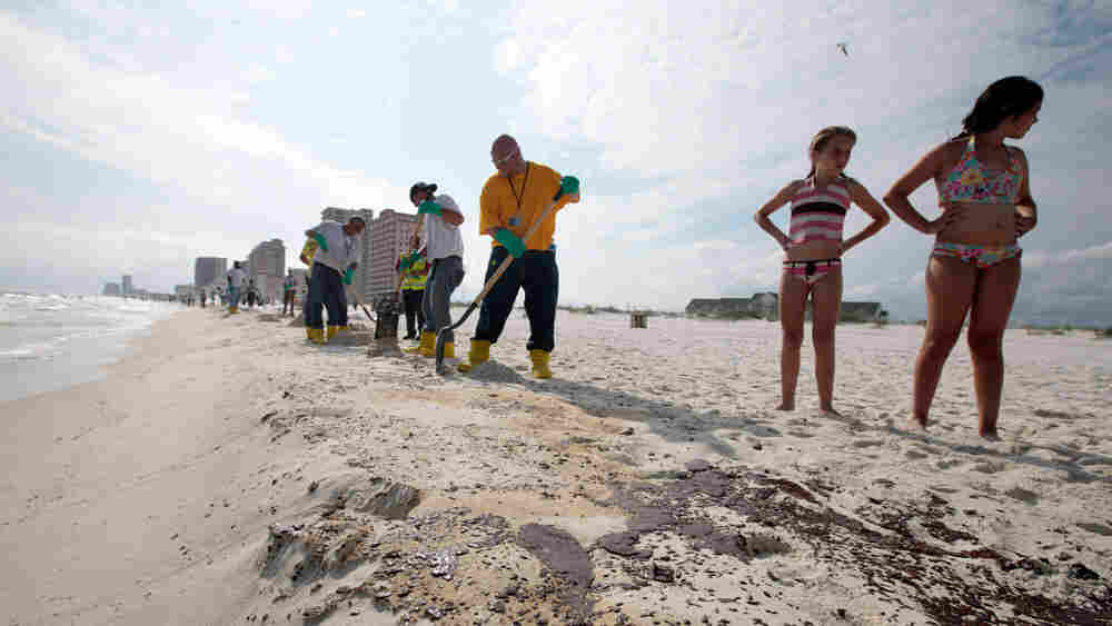 BP workers shovel oil and sand. Dave Martin/AP