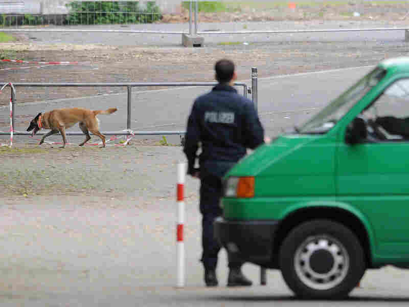 Police secure site of WWII bomb detonation in Gottingen, Germany, June 2
