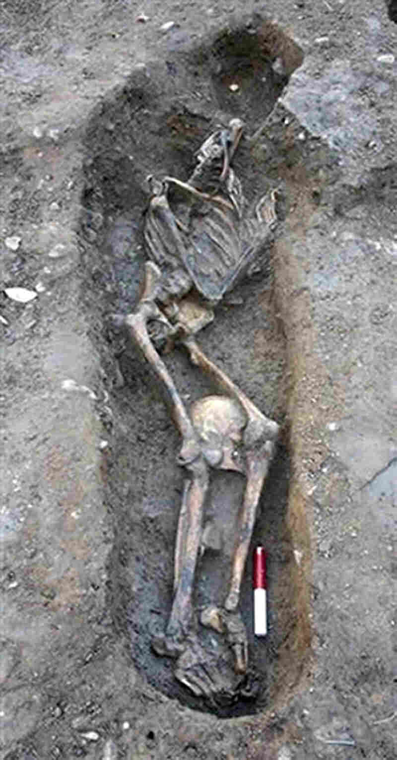 A skeleton unearthed at a site in York in Northern England