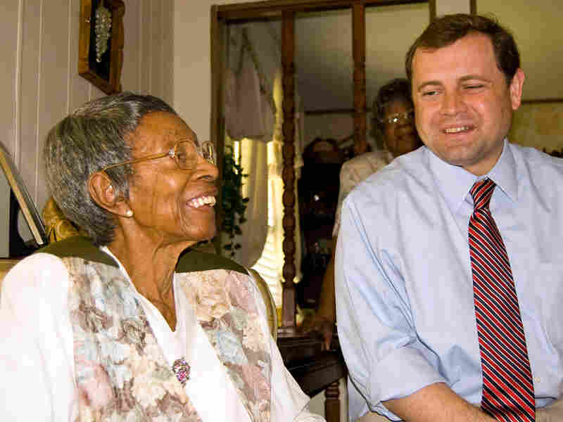 Tom Perriello with constituent Irene Lewis