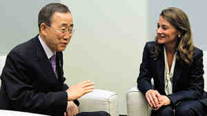 UN Secretary-General Ban Ki-moon and Melinda Gates discuss maternal and child health.