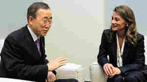 UN Secretary-General Ban Ki-moon and Melinda Gates discuss maternal and child health.