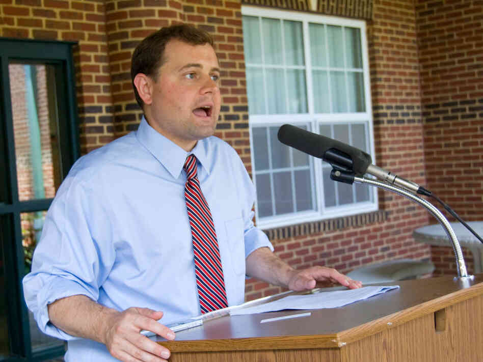 Virginia Democrat Tom Perriello, shown speaking at an elementary school in Rustburg