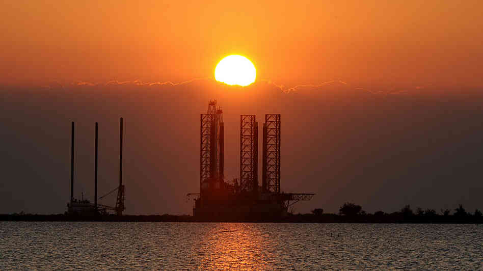 An oil platform waits to be towed into the Gulf of Mexico at Port Fourchon in Louisiana on May 4.