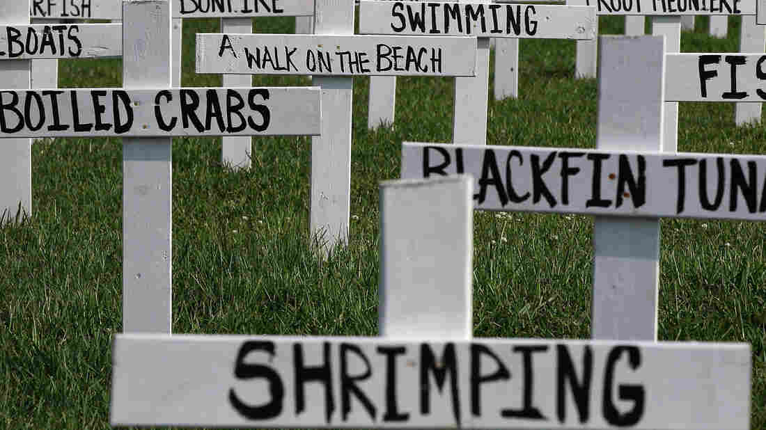 A memorial built by Patrick Shay and his neighbors shows the many things lost due to the spill.