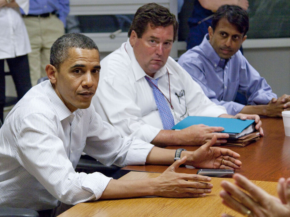 Nungesser (center) joined President Obama and Gov. Jindal at a May 28 briefing on the oil spill in Grand Isle, La. Obama has ordered BP to pay for a project championed by Nungesser and Jindal to build sand berms to protect the shoreline.