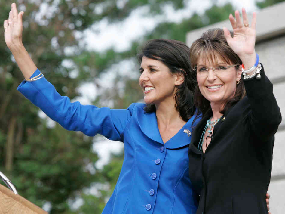 Former Alaska Governor Sarah Palin and Nikki Haley