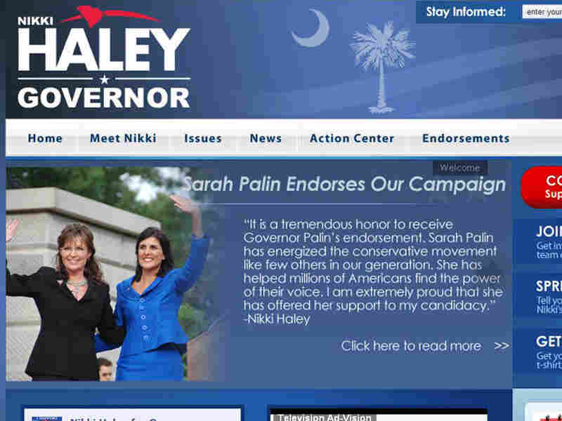 The first thing visitors saw on S.C. GOP candidate Nikki Haley's website Wednesday was this.