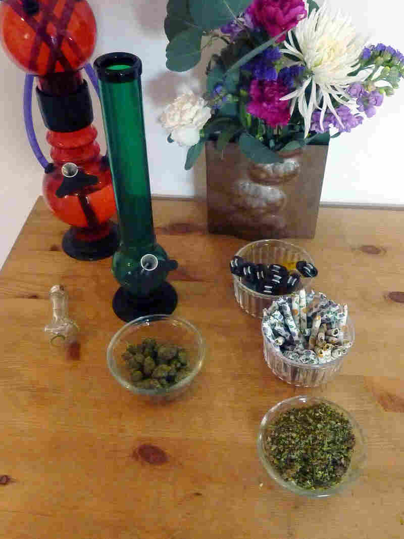 Marijuna and smoking devices at a pot party in California