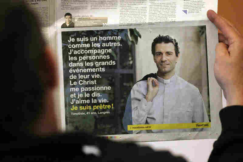 Advertisement in French newspaper recruiting men into priesthood
