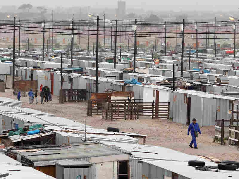 Overview of Blikkiesdorp, a shantytown outside Cape Town