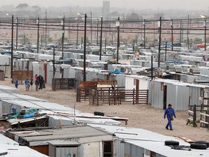 Overview of Blikkiesdorp, a shantytown outside  Cape Town