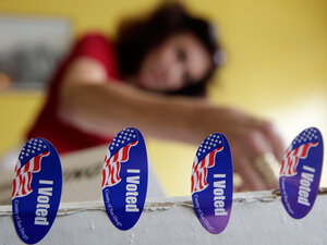 Poll worker Melanie Withey in San Diego on Tuesday.