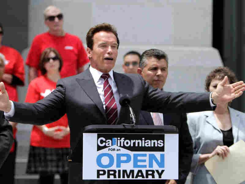 Gov. Arnold Schwarzenegger, a Proposition 14 supporter, on Wednesday.
