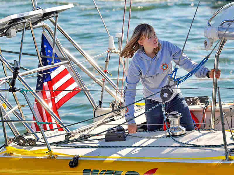 Abby Sunderland, 16, looks out from her sailboat, Wild Eyes in January.
