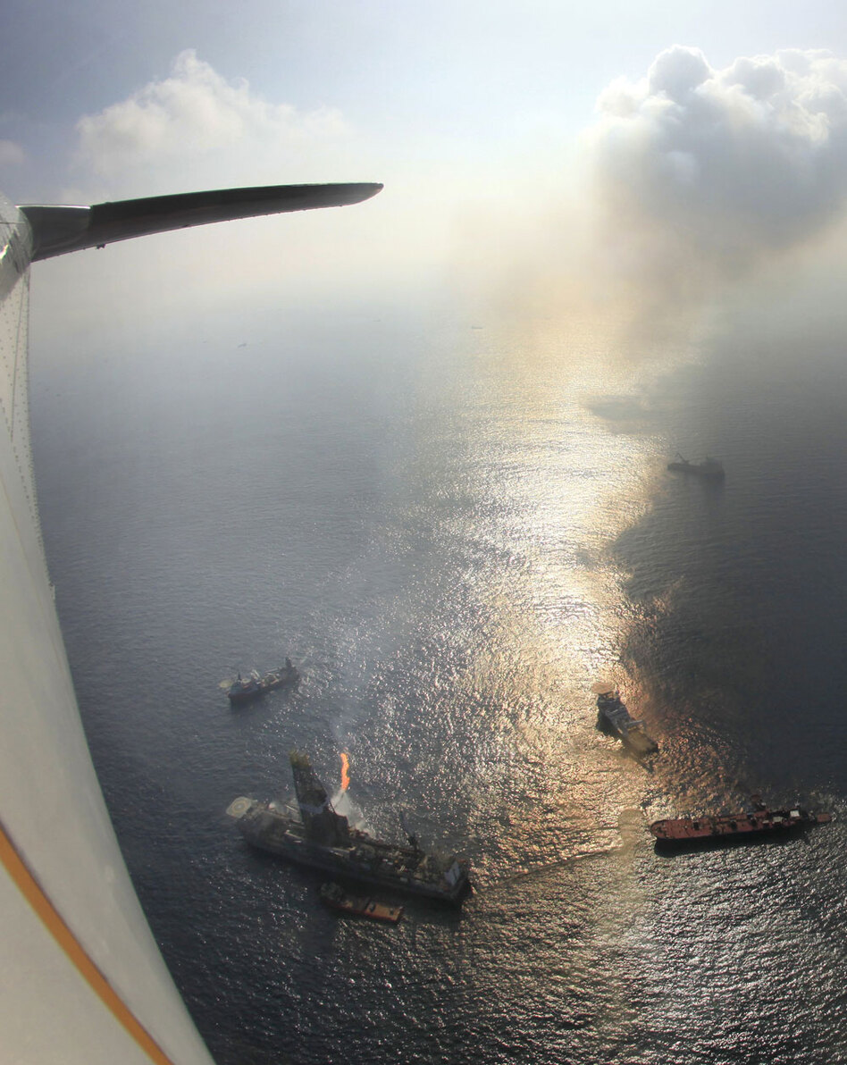 A view of the Deepwater Horizon spill from a Coast Guard plane. Critics say the Coast Guard's expanding role has strained the agency's limited resources.