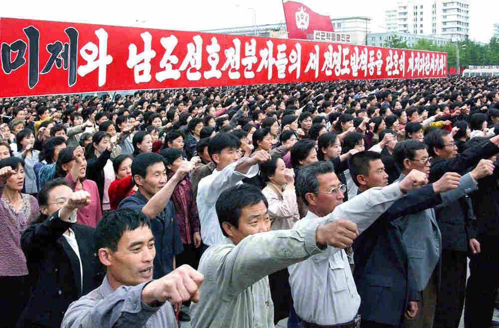 North Koreans attend a rally in Pyongyang, May 30
