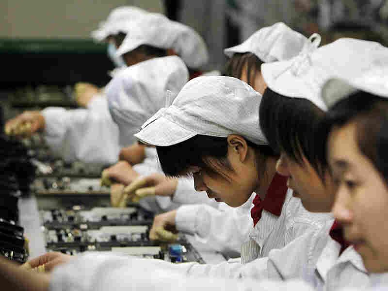 Workers at Foxconn in Shenzhen