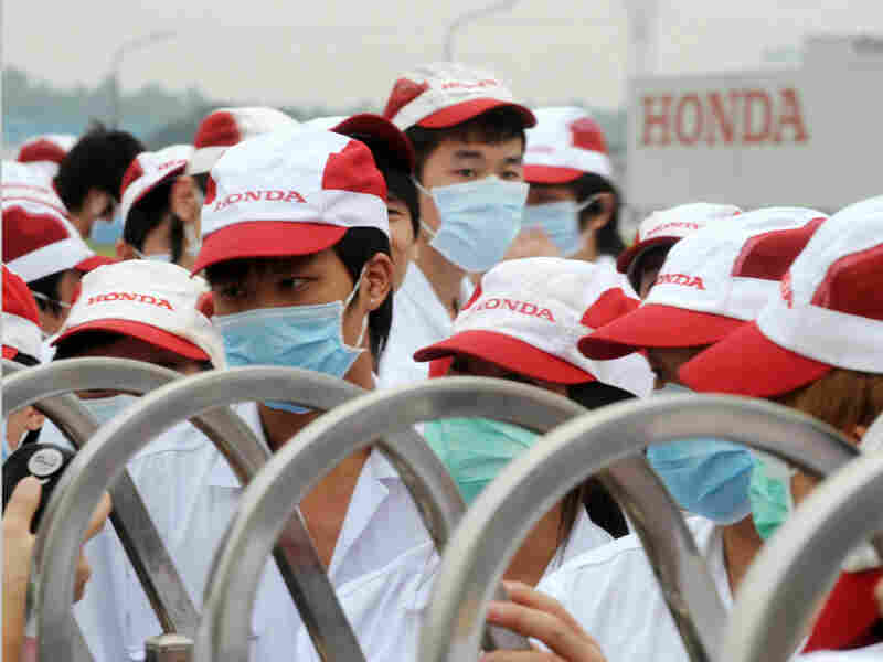 Workers strike at a Honda factory in Foshan city in southern China