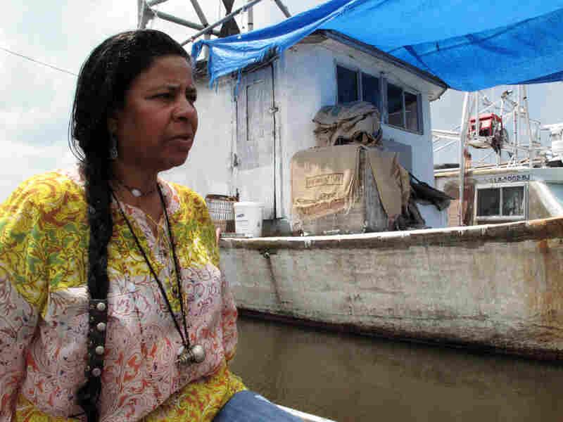 Rosina Phillipe on a flatboat in Grand Bayou