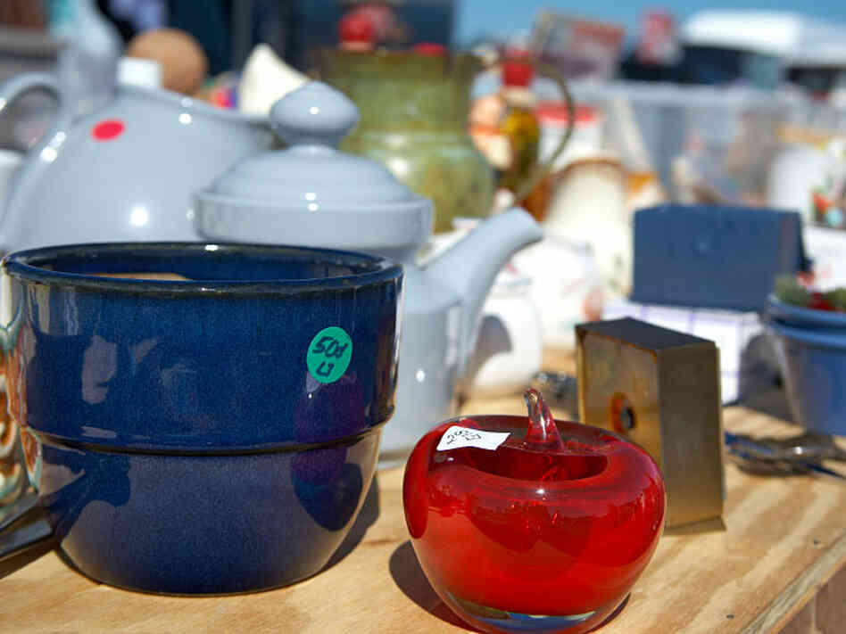 Kitchenware on display at a garage sale