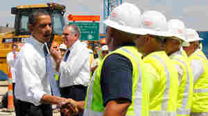 President Obama meets construction workers after speaking at the groundbreaking.
