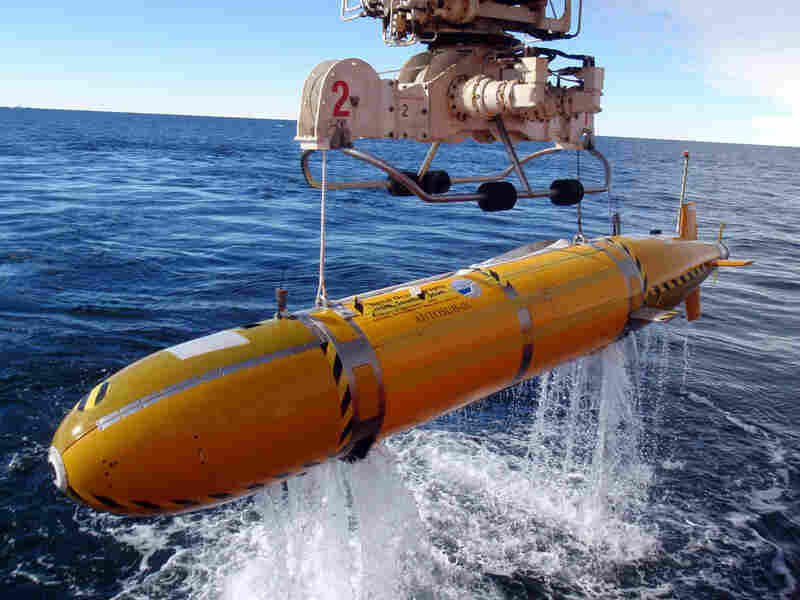 The Autosub, which is about 20 feet long, explored the area under the Pine Island Glacier.