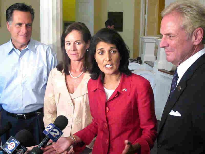 Nikki Haley was joined by former Massachusetts Gov. Mitt Romney and former first lady Jenny Sanford.