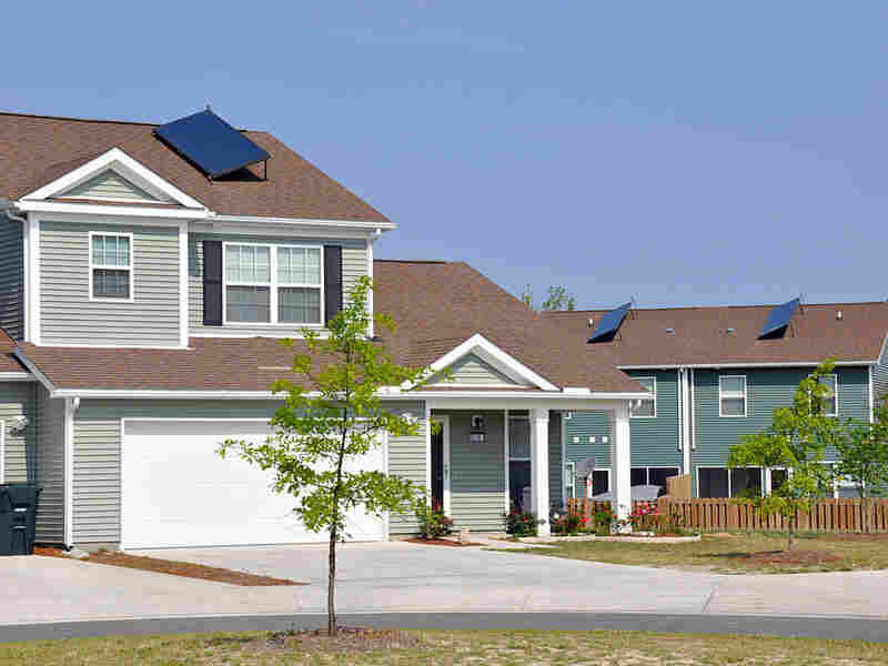 Solar panels on homes at the Camp Lejeune Marine Corps base.