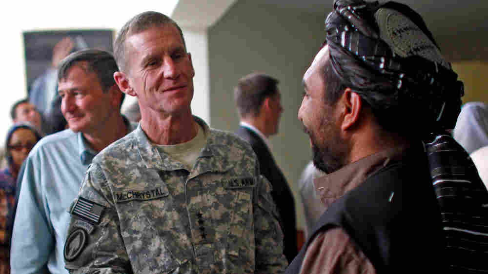 U.S. Army Gen. Stanley McChrystal and U.S. Ambassador to Afghanistan Karl Eikenberry (left)