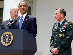 President Obama stands  with Gen. David Petraeus (right) and Vice President Biden.