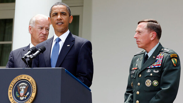 President Obama stands with Gen. David Petraeus (right) and Vice President Biden on Wednesday in the Rose Garden as he announces that Petraeus will replace Gen. Stanley McChrystal. (AP)