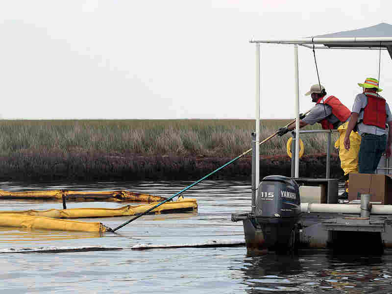 Cleanup workers maneuver an oil boom in Bataria Bay on the coast of Louisiana.