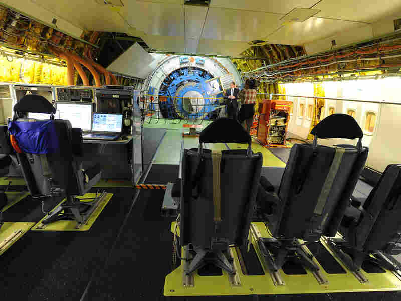 NASA filled SOFIA's interior with workstations for airborne scientists.