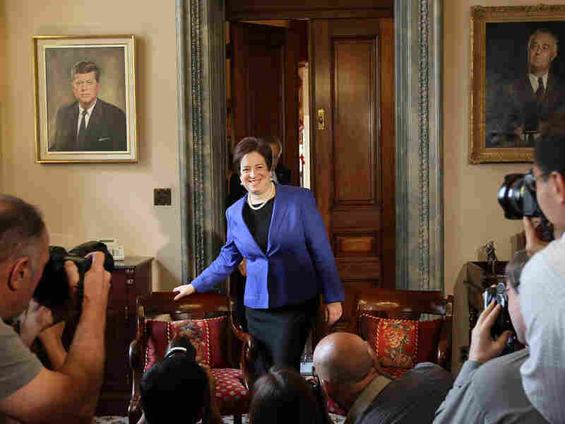 Supreme Court Elena Kagan walks in to meet with Senate Majority Leader Sen. Harry Reid.
