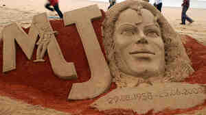 A sand sculpture of Michael Jackson created
