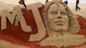 A sand sculpture of Michael Jackson created to mark the first anniversary of his death.