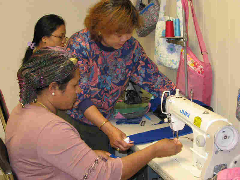 Phyu Phyu Aye, a Burmese refugee, teaches sewing at the Refugee Resource Center in Fort Wayne, In.