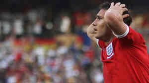 Frank Lampard of England reacts after his goal is disallowed during the match against Germany