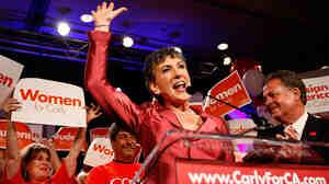 Carly Fiorina celebrates her Republican primary win on June 8.