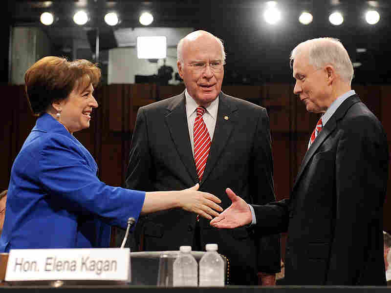 Elena Kagan shakes hands with GOP Sen. Jeff Sessions (right) before Monday's confirmantion hearing.
