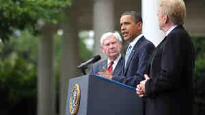 President Barack Obama speaks in the Rose Garden after meeting with BP Oil Spill Commission heads.