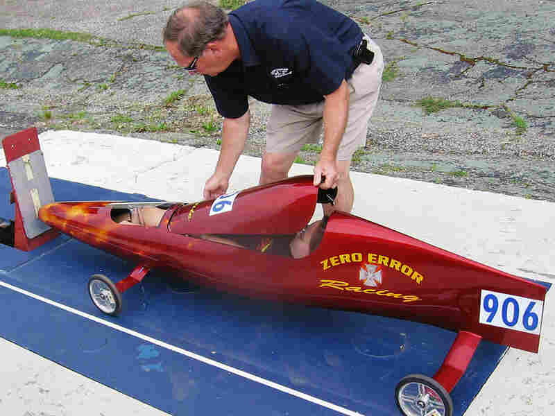 Dave Berndt closes up the fuselage on his daughter Jamie's racer.