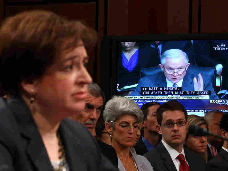 Supreme Court nominee Elena Kagan listens to a question from Sen. Jeff Sessions.