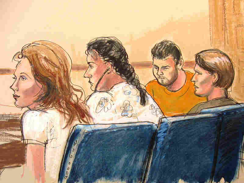 In this courtroom sketch, some of the defendants are seen in Manhattan federal court