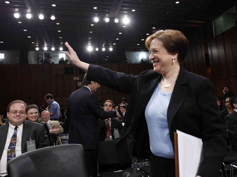 Elena Kagan waves at the start of the third day of her confirmation hearings.