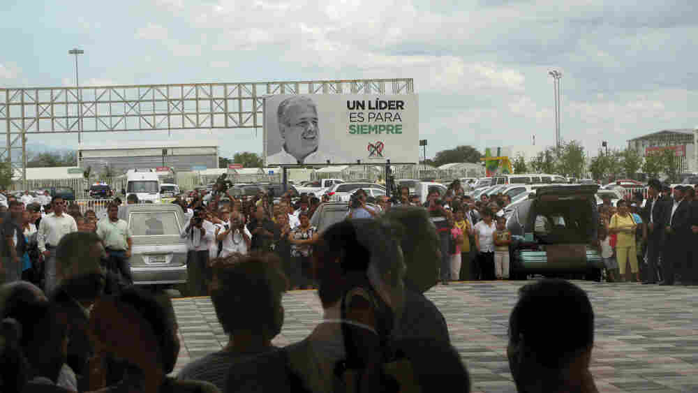 Hearses lined up at Rodolfo Torre Cantu's memorial service